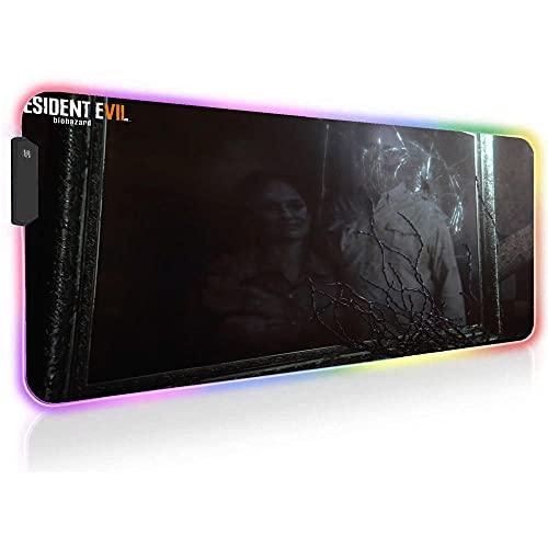 Resident Evil Alfombrillas de ratón Grande RGB Teclado Escritorio Alfombrilla de Jugador XXL Alfombrilla de Juego con Retroiluminación LED para Computadora 27,55 X 11,8 X 0,16 Pulgadas