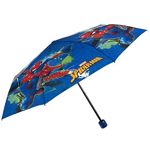 Spiderman Regenschirm Taschenschirm Jungen - Marvel Kinderregenschirm Spider Man - Klein Kinder Schirm Kompakt Leicht Windfest Manuell - Umbrella Schule 7+ Jahren - Durchm 91 cm - Perletti (Blau Rot)