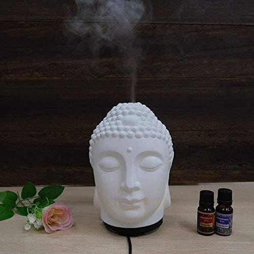 Weißer Keramik-Luftbefeuchter mit Buddha-Kopf, Diffusor für ätherische Öle, 7 Farben, kleines Nachtlicht, Ultraschall, kalter Nebel, leise, Wassermangel, automatische Abschaltung