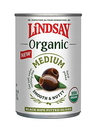 Lindsay Organic Medium Pitted Black Ripe Olives, 6 Ounce (Pack of 12)