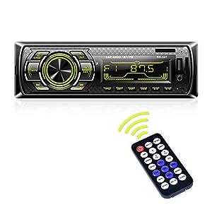 Autoradio Bluetooth, LSLYA Radio USB Coche Bluetooth, Radio Coche Bluetooth con Llamadas Manos Libres,Radio Estéreo de Coche 7 Colores Apoyo de Radio FM/USB/SD/AUX, Control Remoto del Volante