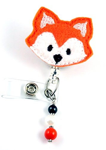Orange Fox Face - Nurse Badge Reel - Retractable ID Badge Holder - Nurse Badge - Badge Clip - Badge Reels - Pediatric - RN - Name Badge Holder