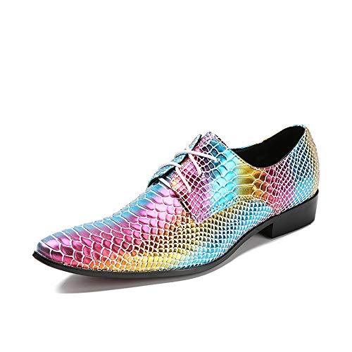 FIESSO La Mode des Hommes Oxford de Haute qualité en Cuir véritable personnalité Multicolore Poisson Imprimer Classique Ponited Lacets Chaussures Biens durables (Color : Multicolor, Taille : 37 EU)