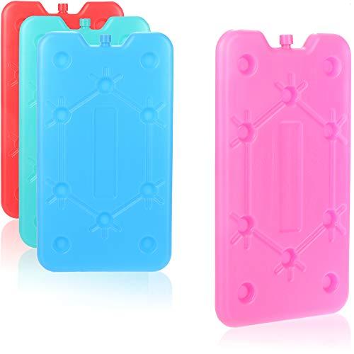 com-four® 4X Extra flaches Kühlakku - Platzsparend und ideal für Kühlbox und Kühltasche - Großes Kühlelement [Auswahl variiert] (4 Stück - mittel)