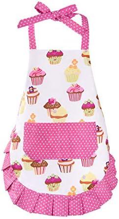 100 Cotton Cupcake Kids Apron Pink Baking Bib Apron for 2 6 Years Child Adjustable Kitchen Apron product image
