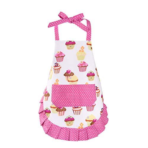 Cupcake Kids Apron, Pink Baking Bib Apron for 2-6 Years Child, Adjustable Kitchen Apron for Little Girls, Cooking, Daughters, Gardening, Toddler Gift