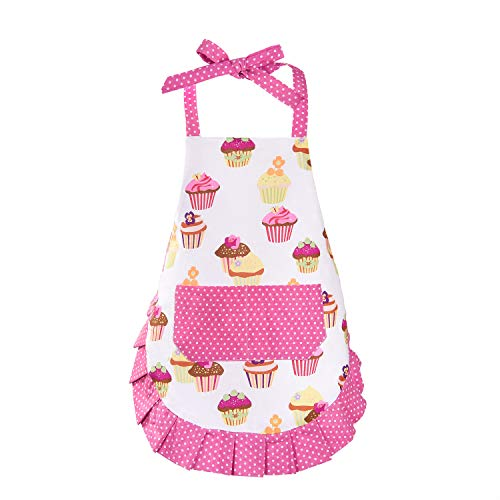 Claswcalor 100% Cotton Kids Girls Aprons, Cupcake Pattern Cute Baking Apron Adjustable Kitchen Apron for Children Daughters Little Girls