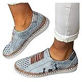 ZBYY Zapatillas casuales de lona para mujer con diseño de gato lindo impreso bajo superior mocasines de moda cómodos deslizamientos en pisos zapatos para caminar
