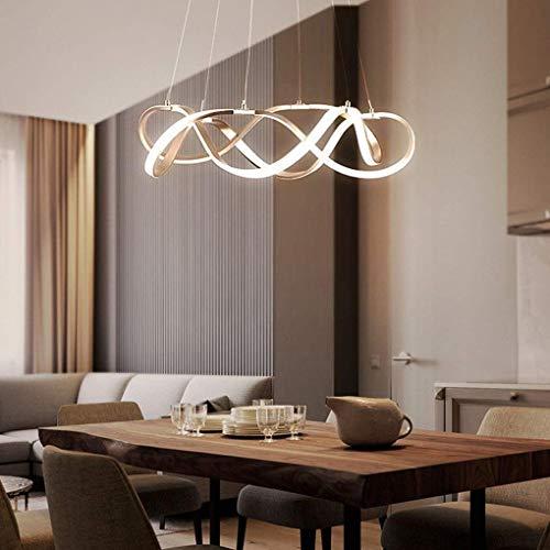 Lámpara colgante de techo en espiral LED – Lámpara colgante trenzada de diseño creativo moderno – Lámpara de techo regulable para colgar el salón iluminación [clase energética A+]