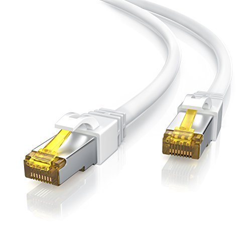 Primewire - Câble réseau Cat 7 Ethernet Gigabit de 20m - Câble Patch 10000 Mbits - Câble Gigabit Local LAN 10 Gbps - Blindage S/FTP PIMF avec fiches RJ45 - Switch routeur Modem Point d'accès - Blanc