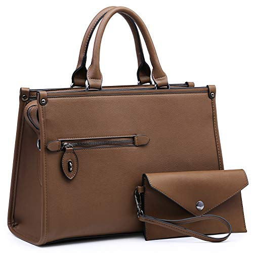 Dasein Women Satchel Handbags and Purses Shoulder Bags Top Handle Work Tote Bags for Ladies with Clutch (Coffee)