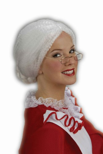 Forum Novelties Women's Holiday Mrs. Santa Costume Wig, White, One Size
