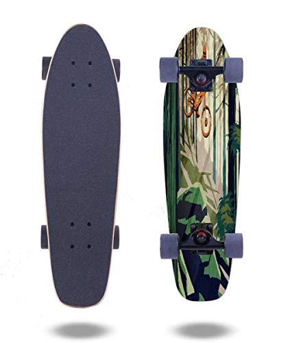 "OPNERLKNC Cruiser Skateboards My Therapy Mountain Bike! 27""x7.5"" 7 Layer Canadian Maple Complete Standard Short Skateboard for Boys Beginners Girls Kids Teens Adults"