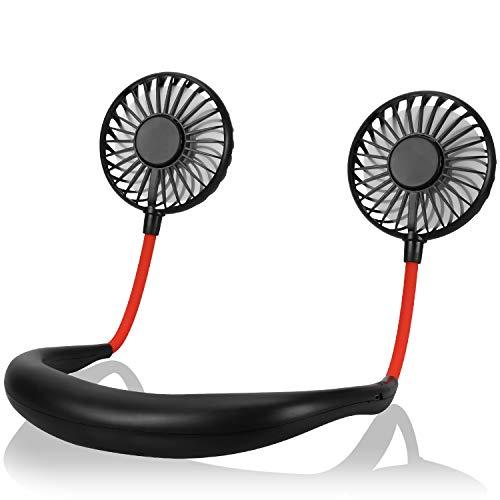 Cevapro 首かけ·卓上兼用 Cevapro 扇風機 USBファン ハンズフリー 7枚羽根 6時間連続駆動 3段風量調節 2000mAh超大容量 360度角度調整 ポータブルミニファン 小型 充電式 ダブルファン 強力 暑さ対策 18ヶ月保証 ブラック