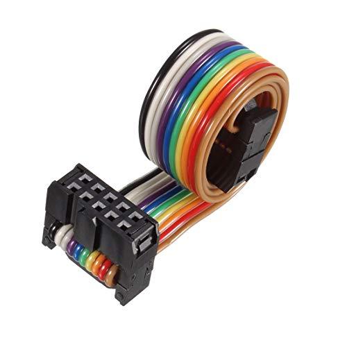 sourcing map Cable plano de cinta arco iris IDC 10P Conector FC/FC...