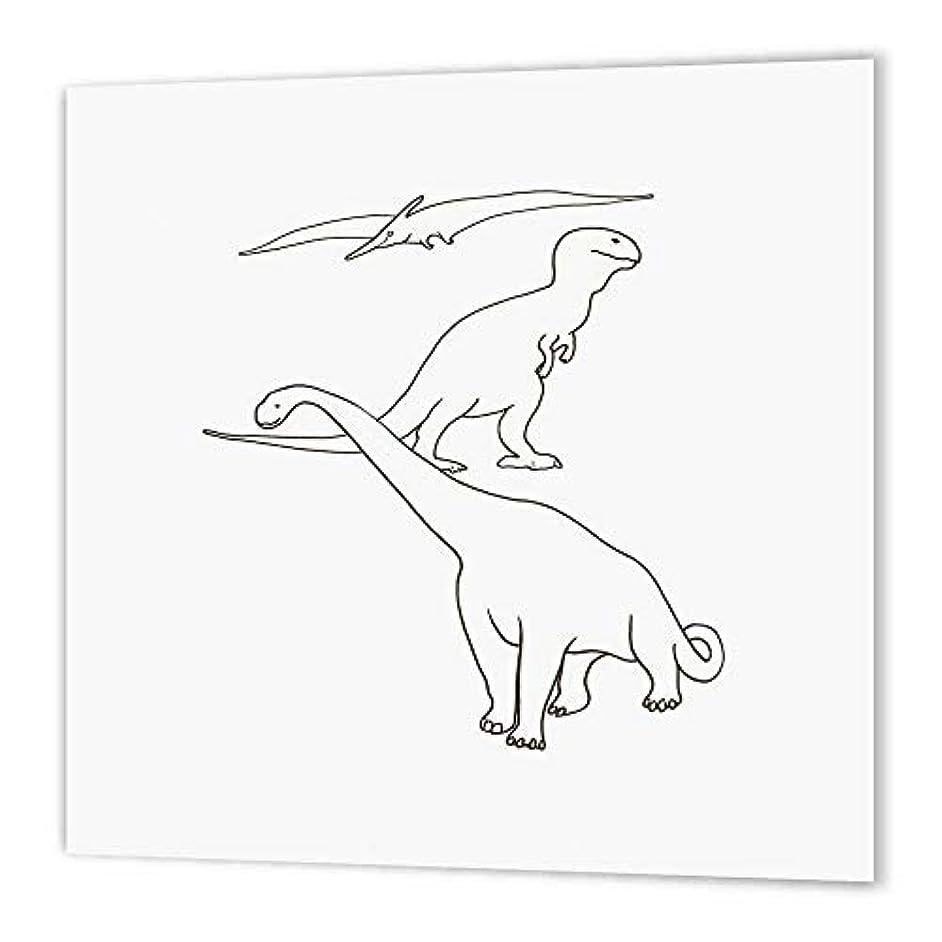 3dRose ht_24498_3 Dinosaurs Pteranodon Giganotosaurus Tyrannosaurus-Iron on Heat Transfer Paper for White Material, 10 by 10-Inch