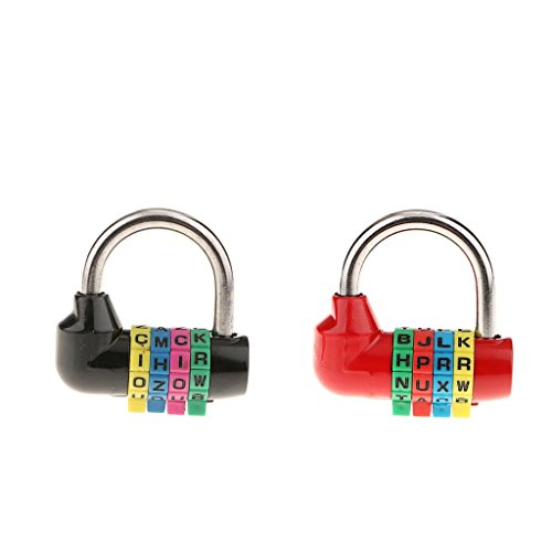#N/A 2 Pieces Combination Lock Letters Combination Padlock with 4