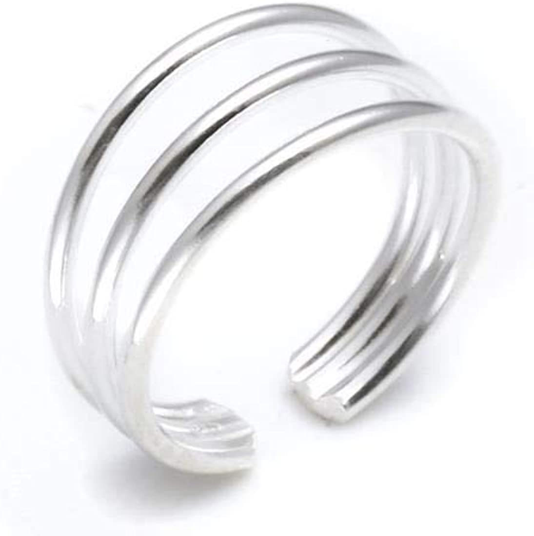 All items free shipping Silverly Lowest price challenge Women's .925 Sterling Silver Triple Band Adjus Polished