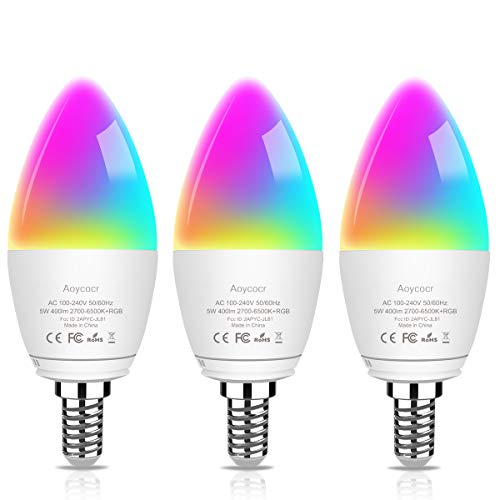 LED Candelabra Bulbs E12 Base- Chandelier Lighting Bulbs 400 Lumens 5W(45 Watt equiv.) - Tunable White 2000K-6500K RGB Color Changing Dimmable Smart Light Bulb - 3 Pack
