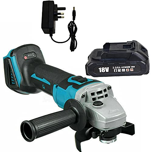 125mm Brushless Cordless Angle Grinder for Makita, 18V Brushless Angle Grinder with 1x 3.0Ah Rechargeable Batteries and Charger, UK Plug Charger