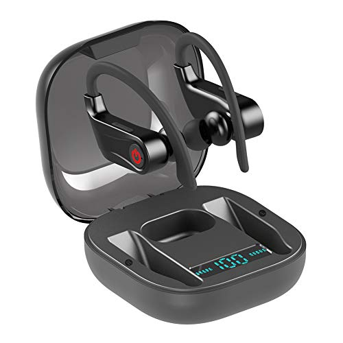 Bluetooth Kopfhörer in Ear Kopfhörer Mini Stereo Wasserdicht Sport Kopfhörer Bluetooth 5.0 Auto Pairing Joggen mit Mikrofon TWS Kopfhörer Headset für iOS Android Samsung Huawei (Schwarz)
