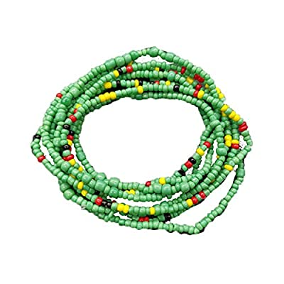 Althrorry Waist Beads Body Jewelry, Colorful Belly Beads, Bead Jewelry, Belly Chains, Waist Chain (2 Piece) (Green)