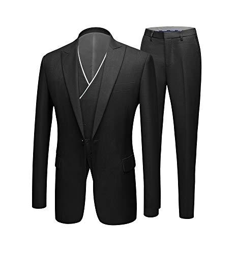 YFFUSHI Mens 3 Piece Suits Slim Fit 2 Buttons Business Wedding Formal Jacket Vest Pants&Tie