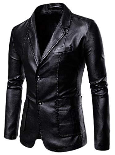 dahuo Mens Stylish Two Button Faux Leather Suit Blazer Jacket Sport Coat Black XL