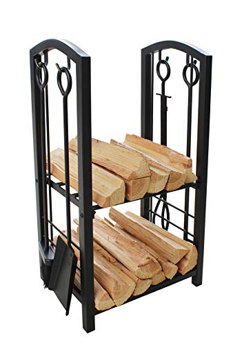 Everflying PriceFireplace Log Rack with 4 Tools Indoor Outdoor Fireside Firewood Holders Lumber Storage Stacking Black Wrought Iron Logs Bin Holder for Fireplace Tool