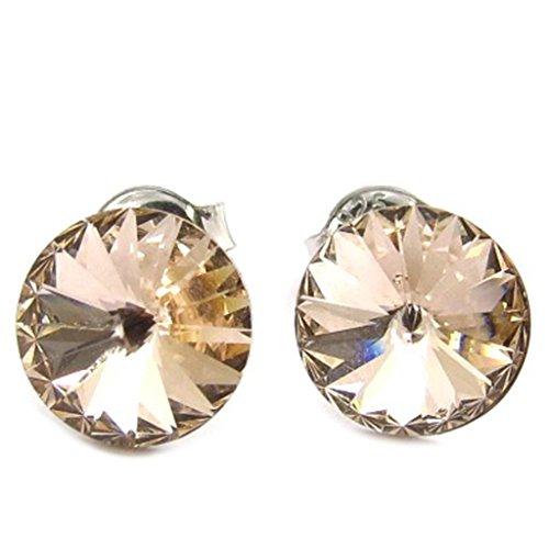 Lily-Crystal [K2702] - Silber schleifen 'Cristal' champagner/cremefarben (9 mm).
