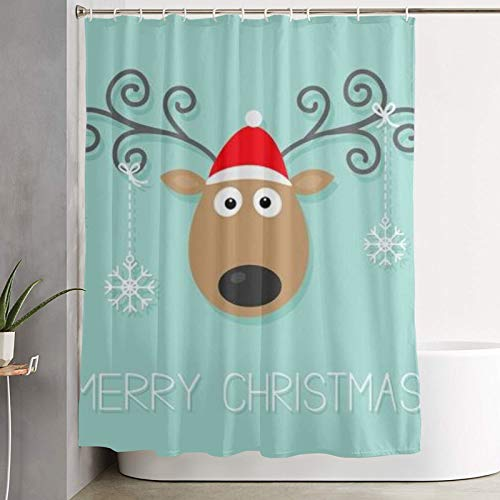 QYUESHANG Duschvorhang, süßes Cartoon-REH mit gelockten Hörnern, rotem Hut & hängenden Schneeflocken, Badvorhang waschbarer Badvorhang aus Polyester mit 12 Kunststoffhaken 180x180cm