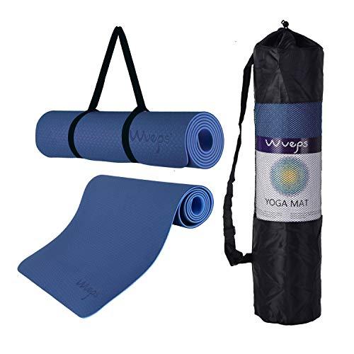 esterilla deporte, esterilla yoga Wueps, incluye correa de hombro y bolsa de transporte, ideal para realizar deporte en casa, yoga mat, esterilla yoga antideslizante, (Color Azul Oscuro y Azul Claro)