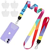 SHANSHUI Universal Phone Lanyard, Universal Nylon Neck Strap and Wrist Strap Tether With 4 Durable Clear Patches Key Chain Holder Universal for All Smartphones(Colorful)
