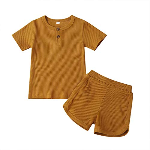 Toddler Baby Boys Girls Ribbed Short Sleeve Button Pullover Tops Elastic Waist Shorts 2Piece Summer Clothes Outfits (A-Yellowish Brown, 4-5T)
