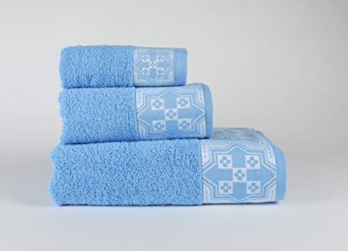 Forentex, 3-delige set Cosmos, multifunctionele absorberende handdoeken, voor badkamer, luxe, sportschool, strand, zwembad, 100% katoen, helder blauw, set 30 x 50, 50 x 100, 100 x 150 cm 3