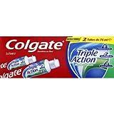 COLGATE - Dentifrice Triple Action Menthe Originale - Favorise une Bonne Santé Bucco-Dentaire - Contre les Caries, les Taches Dentaires et la Mauvaise Haleine - Tube de 2x75ml