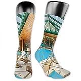 vnsukdlfg Compression Medium Calf Socks,Residential House Large Indoor Pool Furniture Sunrays Leisure Time