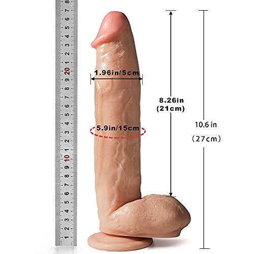 Realistischer XL Silikon Dildo in als Penis mit Hoden für Frauen Orgasmus, 27cm, Sexspielzeug Dong für pures Vergnügen mit starker Saugnapf