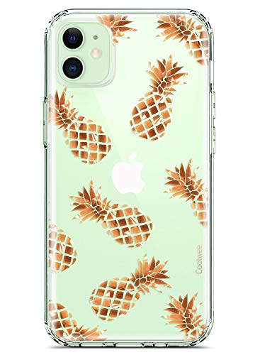 Coolwee Compatible with iPhone 12 Case, Compatible with iPhone 12 Pro Case Rose Gold Pineapple Floral Women Girls Men Foil Clear Design Shiny Glitter Hard Back with Soft TPU Bumper Cover Pineapple