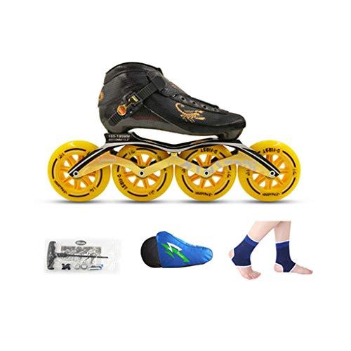 Taoke Inline-Skates, 4x90mm-110MM hohe elastische PU-Rad Kind Erwachsene Berufs einreihig Skates (Farbe: Gelb, Größe: EU 37 / US 5 / UK 4 / JP 23,5cm) dongdong