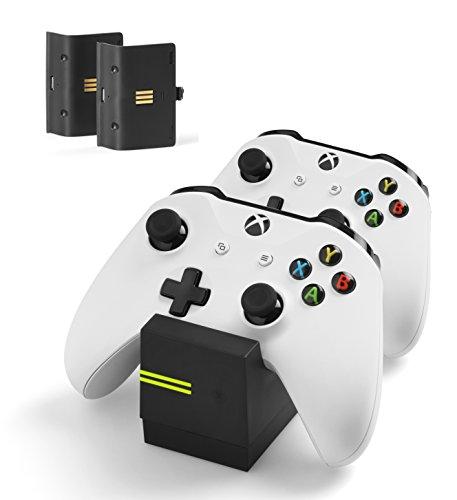 snakebyte Xbox One TWIN:CHARGE X - schwarz – Ladegerät/Ladestation für Xbox One S/Xbox One X/Xbox Elite Controller/Gamepads, 2 Akkus Wiederaufladbar 800mAh, Dual Kanal Charge, LED-Ladezustandanzeige