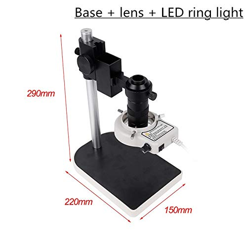 HONYGE L-Ying Microscopes, 130X Small Base Workbench Digital Monocular Microscope with VGA 200W Camera Lens 56 LED Light for Repair Phone Soldering (Color : Base Lens)