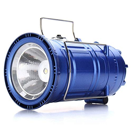 Cheniess 3 In 1 Multi-function Solar Rechargeable Fan LED Hiking Light Table Lamp Outdoor Collapsible Camping Flashlight Tent Hanging Lighting Lantern for Camping Hiking Outoor Sports (Color : Blue)