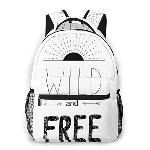 Lawenp School Backpacks Abstract Hand Drawn Rising Sun Figure Arrows Wild Free Forest Sketch Art Design for Teen Girls&Boys 16 Inch Student Bookbags Laptop Casual Rucksack