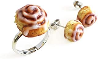 Hot Cinnamon Roll Adjustable Silver Statement Ring Mini Clay Food Jewelry • La Nostalgie Handmade