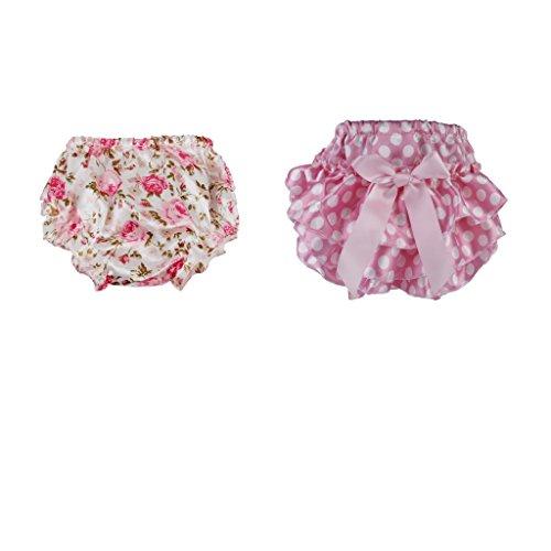 Homyl 2pcs Bloomer Couvre-couche Prop Photographie pour Bébé Fille 0-24m Rose Floral 0-2 Ans