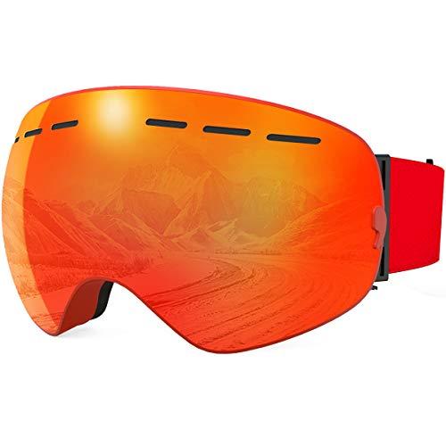 X-TIGER Maschera da Sci, Occhiali da Sci Ski Snowboard Antivento Anti Fog UV 400 Protezione con Staccabile Grandangolare Lenti Goggles Ampio Angolo di Visione (XJ-0104)