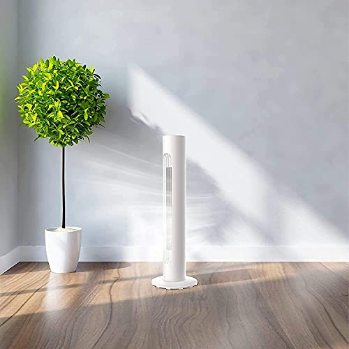 MYLEK Electric Tower Fan with Remote Control 45W, Cooling Quiet Oscillation and Timer for Bedroom/Kitchen/Office (White)