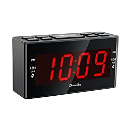 DreamSky Dual Alarms Clock Radio with AM/FM Radio and Sleep Timer,Large Number Display,Battery Backup