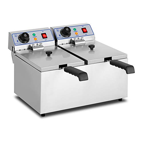 Royal Catering Friggitrice Professionale Friggitrice Elettrica Doppia RCEF 08DH (2 x 8 L, 2 x 3.200 W, 230 V, Vasca estraibile, Due collegamenti elettrici)